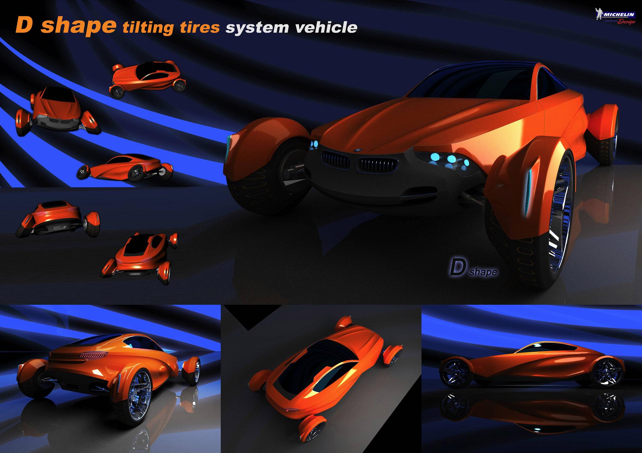 D Shape tilting tires system vehicle by HyukJun Seo, South