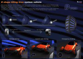 D Shape tilting tires system vehicle