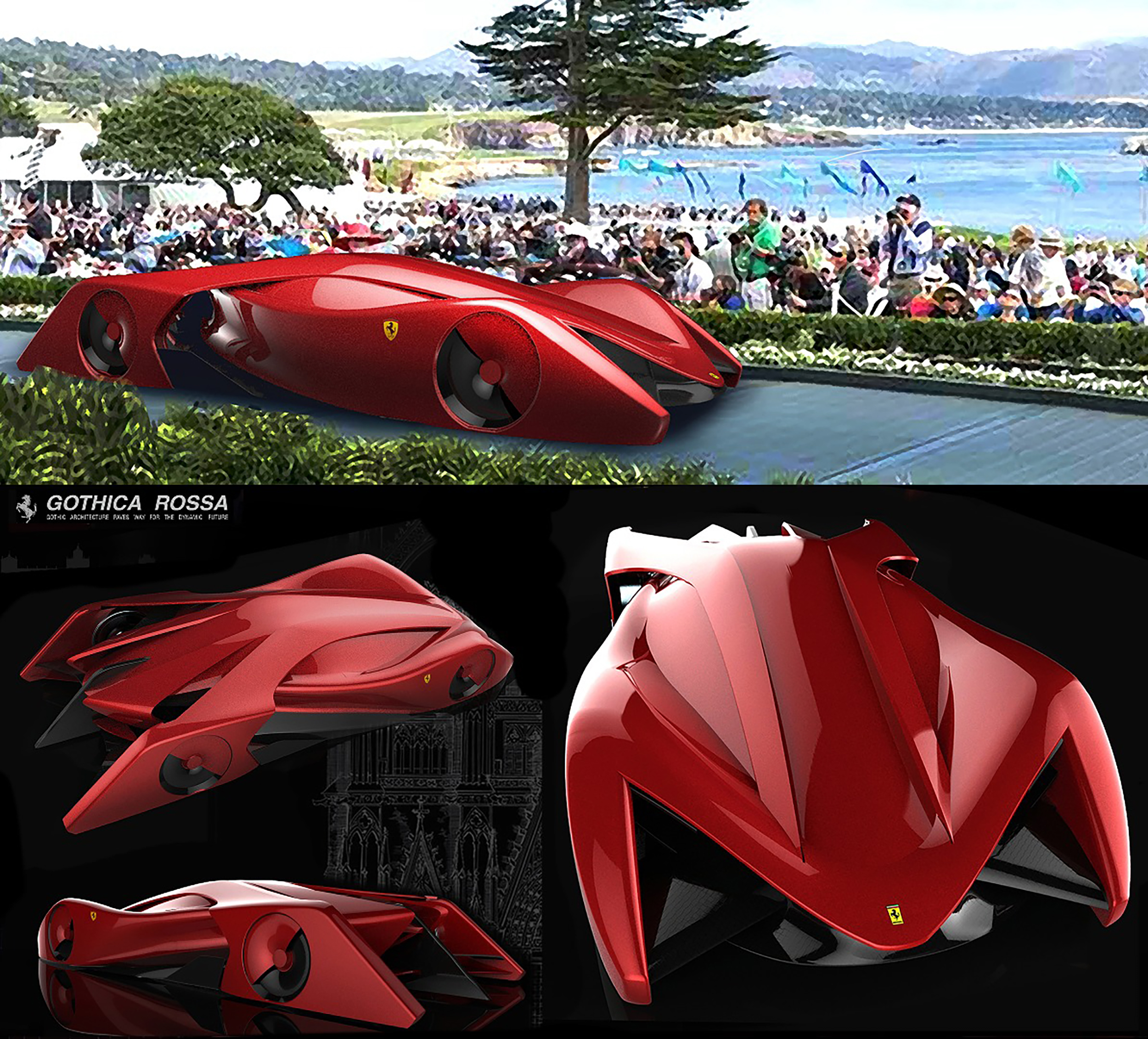 Ferrari Designer: Ferrari Gothica Rossa 2025 Electric Hypercar Concept By