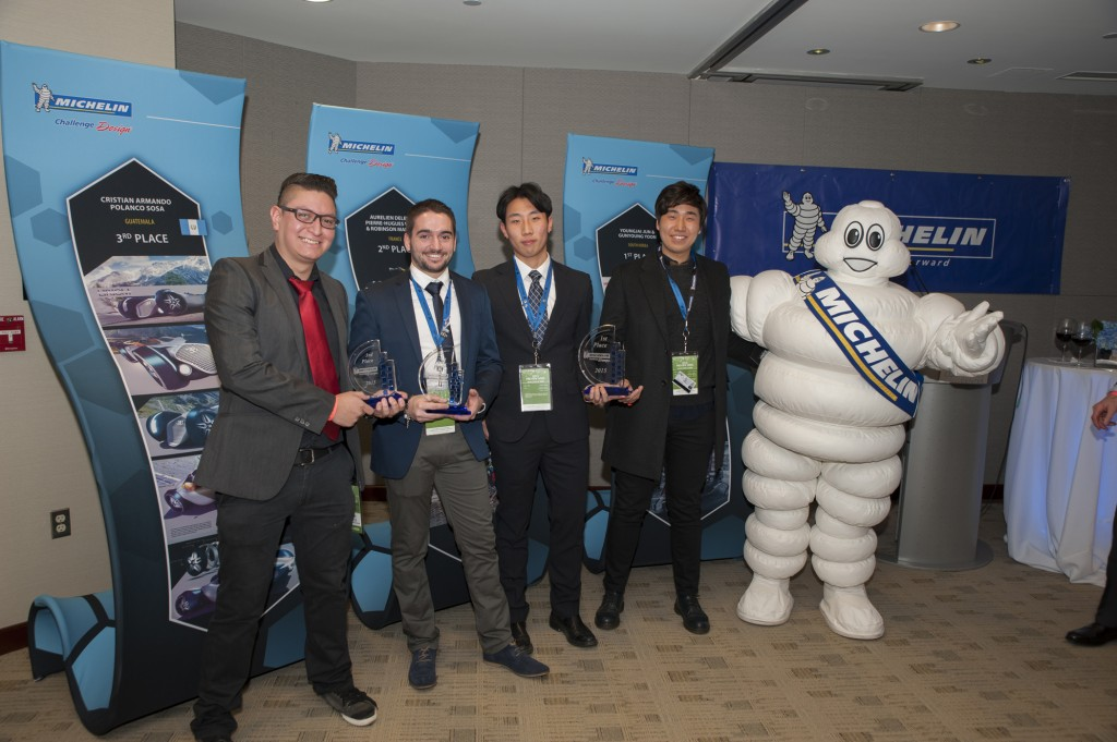 2015 Michelin Challenge Design winners with the Michelin Man